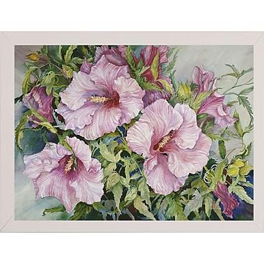 Winston Porter 'Pink Hibiscus' Print; White Wood Medium Framed Paper