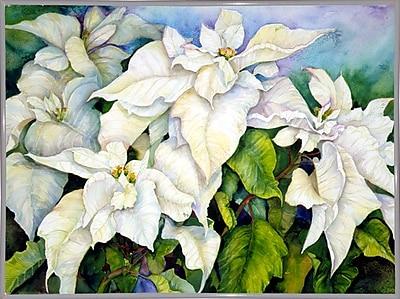 Winston Porter 'White Poinsettia' Print; White Metal Framed