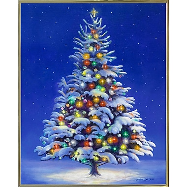 The Holiday Aisle 'Christmas Tree' Graphic Art Print; Gold Metal Framed