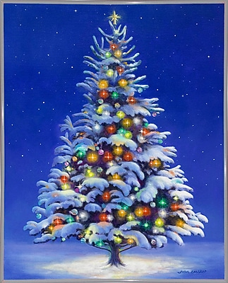 The Holiday Aisle 'Christmas Tree' Graphic Art Print; White Metal Framed