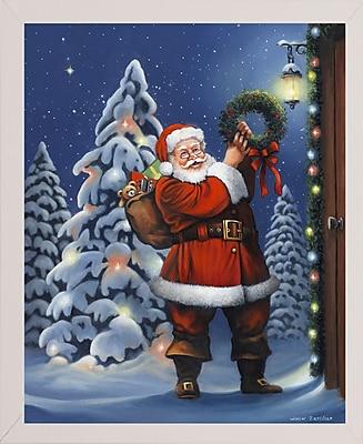 The Holiday Aisle 'Santa Wreath' Graphic Art Print; White Wood Medium Framed Paper