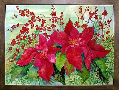The Holiday Aisle 'Red Poinsettia' Print; Cafe Mocha Framed Paper
