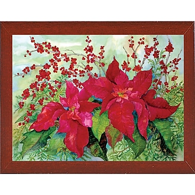 The Holiday Aisle 'Red Poinsettia' Print; Red Mahogany Wood Medium Framed Paper