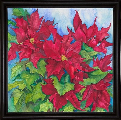 The Holiday Aisle 'Red Oak Leaf Poinsettias' Print; Bistro Expresso Framed Paper