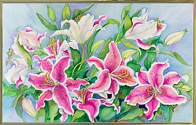 Winston Porter 'Lilies And Buds' Print; Gold Metal Framed