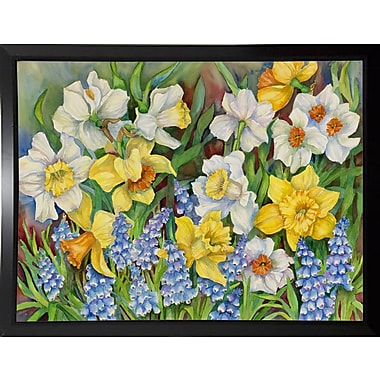 Winston Porter 'Daffodils And Grape Hyacinths' Print; Black Plastic Framed Paper
