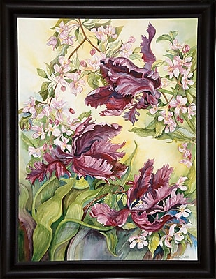 Winston Porter 'Parrot Tulips w/ Cherry Blossoms' Print; Bistro Expresso Framed Paper