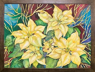 Winston Porter 'Golden Poinsettia' Print; Cafe Mocha Framed Paper