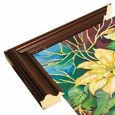 Winston Porter 'Golden Poinsettia' Print; Cherry Wood Grande Framed Paper