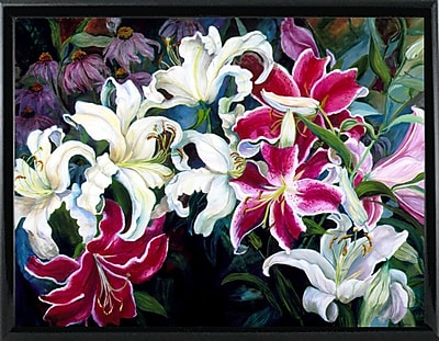 Winston Porter 'Field Of White And Pink Lilies' Print; Shiny Black Metal Framed