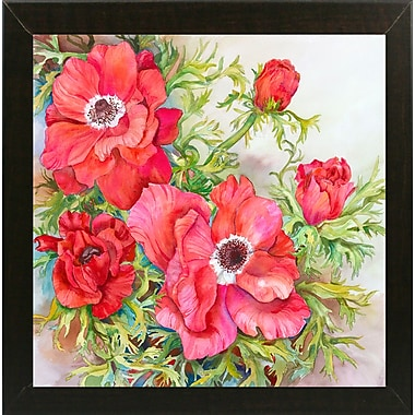 Winston Porter 'Red Anemones' Print; Rolled Canvas