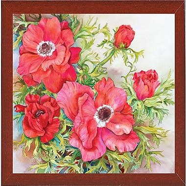 Winston Porter 'Red Anemones' Print; Red Mahogany Wood Medium Framed Paper