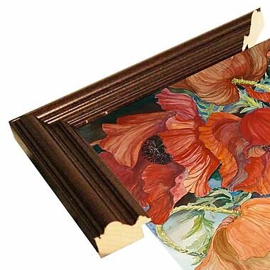 Winston Porter 'Orange Poppies' Print; Cherry Wood Grande Framed Paper