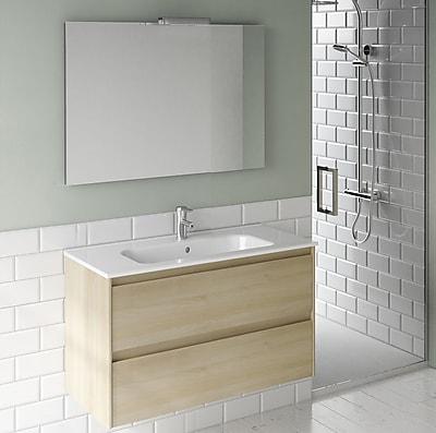 WS Bath Collections Ambra 40'' Single Bathroom Vanity Set w/ Mirror; Nordic Oak