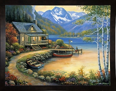 Charlton Home 'Fishing At The Lake' Graphic Art Print; Black Wood Medium Framed Paper