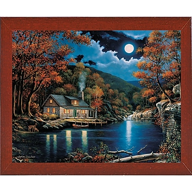Charlton Home 'Cabin By The Lake' Graphic Art Print; Red Mahogany Wood Medium Framed Paper