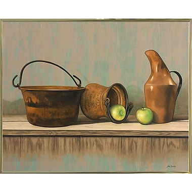 August Grove 'Rustic Cooking Pots' Graphic Art Print; Gold Metal Framed Paper