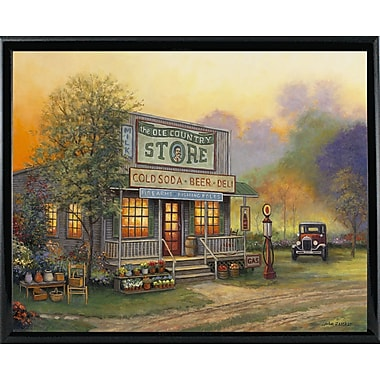 August Grove 'Old Country Store' Graphic Art Print; Shiny Black Metal Framed