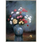 Charlton Home 'Floral D' Graphic Art Print; Silver Metal Framed Paper