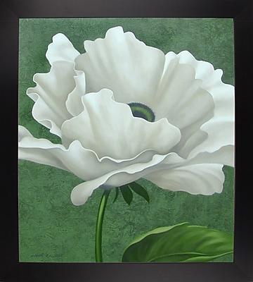 Charlton Home 'White Poppy' Graphic Art Print; Black Wood Large Framed Paper