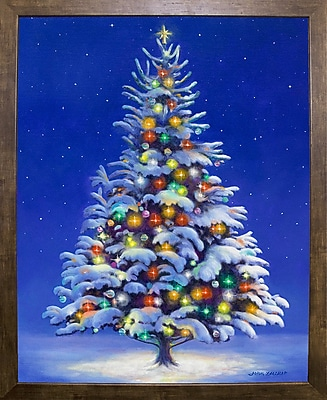 The Holiday Aisle 'Christmas Tree' Graphic Art Print; Cafe Mocha Framed Paper