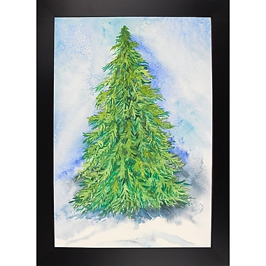 The Holiday Aisle 'Evergreen Tree' Print; Black Wood Large Framed Paper