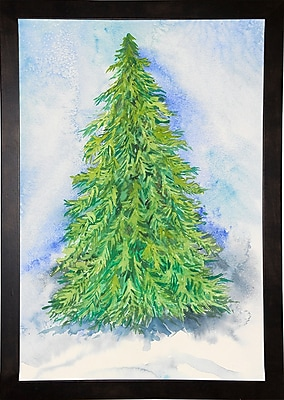 The Holiday Aisle 'Evergreen Tree' Print; Cafe Espresso Wood Framed Paper