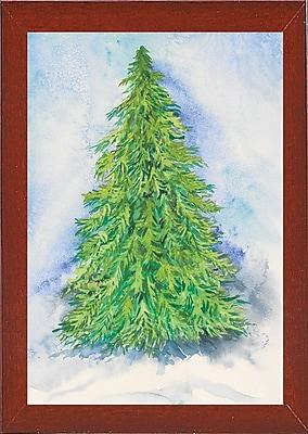 The Holiday Aisle 'Evergreen Tree' Print; Red Mahogany Wood Medium Framed Paper