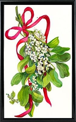 The Holiday Aisle 'Mistletoe w/ Red Ribbon' Print; Black Metal Framed Paper