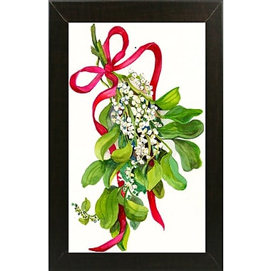 The Holiday Aisle 'Mistletoe w/ Red Ribbon' Print; Brazilian Walnut Wood Medium Framed Paper