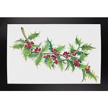 The Holiday Aisle 'Holly' Print; Black Wood Large Framed Paper