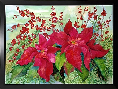 The Holiday Aisle 'Red Poinsettia' Print; Black Plastic Framed Paper