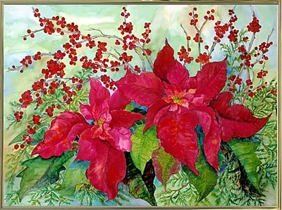 The Holiday Aisle 'Red Poinsettia' Print; Gold Metal Framed Paper