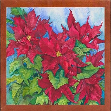 The Holiday Aisle 'Red Oak Leaf Poinsettias' Print; Canadian Walnut Wood Medium Framed Paper