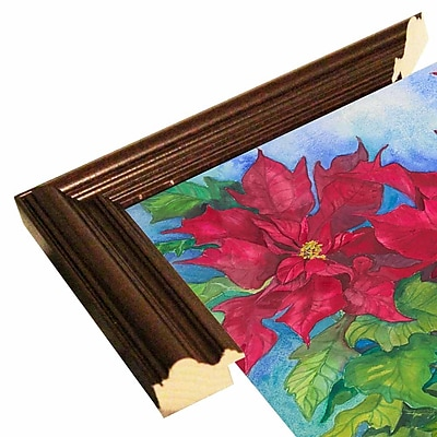 The Holiday Aisle 'Red Oak Leaf Poinsettias' Print; Cherry Wood Grande Framed Paper