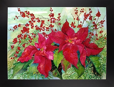 The Holiday Aisle 'Red Poinsettia' Print; Black Wood Large Framed Paper