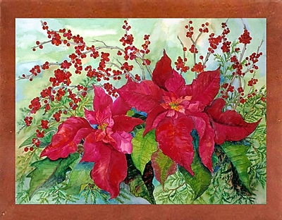 The Holiday Aisle 'Red Poinsettia' Print; Canadian Walnut Wood Medium Framed Paper