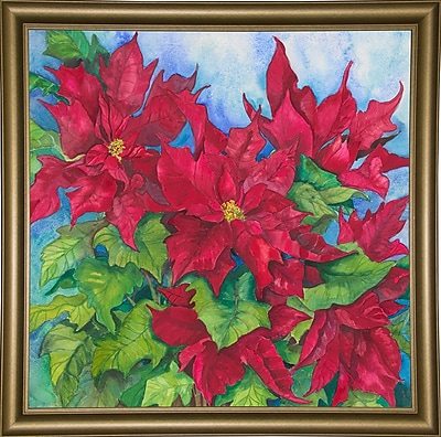 The Holiday Aisle 'Red Oak Leaf Poinsettias' Print; Bistro Gold Framed Paper