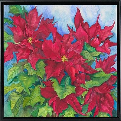 The Holiday Aisle 'Red Oak Leaf Poinsettias' Print; Black Metal Framed Paper
