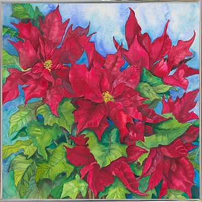 The Holiday Aisle 'Red Oak Leaf Poinsettias' Print; Silver Metal Framed Paper