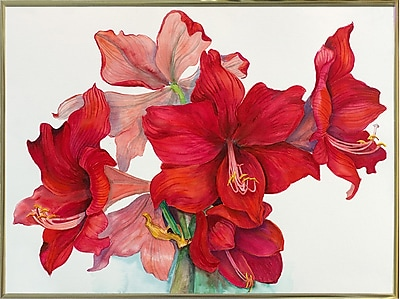 The Holiday Aisle 'Holiday Amaryllis' Print; Gold Metal Framed Paper
