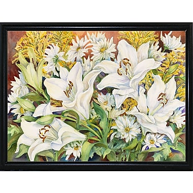 Winston Porter 'Lilies and Daisys' Print; Flat Back Metal Framed