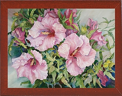 Winston Porter 'Pink Hibiscus' Print; Red Mahogany Wood Medium Framed Paper
