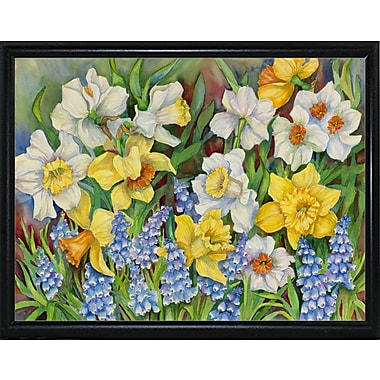 Winston Porter 'Daffodils And Grape Hyacinths' Print; Flat Back Metal Framed