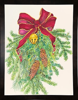 The Holiday Aisle 'Evergreen Branch w/ Bow' Graphic Art Print; Black Wood Medium Framed Paper