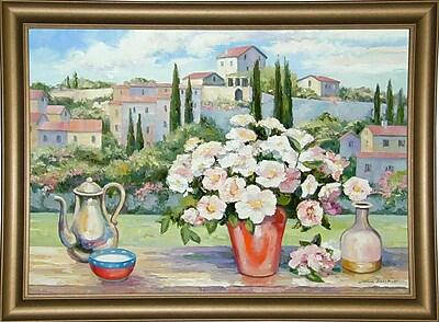 Fleur De Lis Living 'Tuscan Roses' Graphic Art Print; Bistro Gold Framed Paper