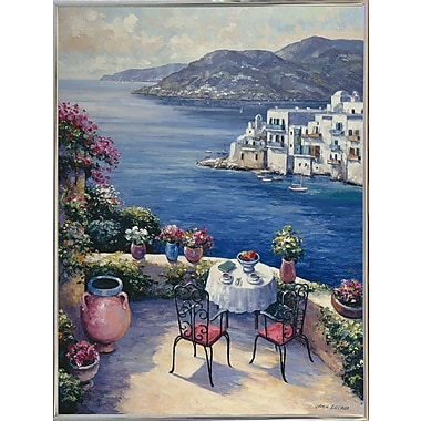 Fleur De Lis Living 'Aegean Vista' Graphic Art Print; Silver Metal Framed Paper