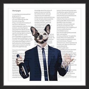 Ivy Bronx 'Frenchie w/ Wine Bottle' Framed Textual Art Print; 32'' H x 32'' W