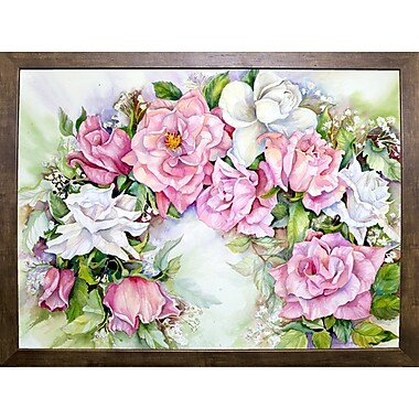 Ophelia & Co. 'Arch Of Pink & White Roses' Print; Cafe Mocha Framed Paper