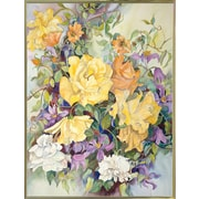 Ophelia & Co. 'Roses w/ Purple Clematis' Print; Gold Metal Framed